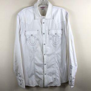 True Religion Western Snap Button White Shirt XL